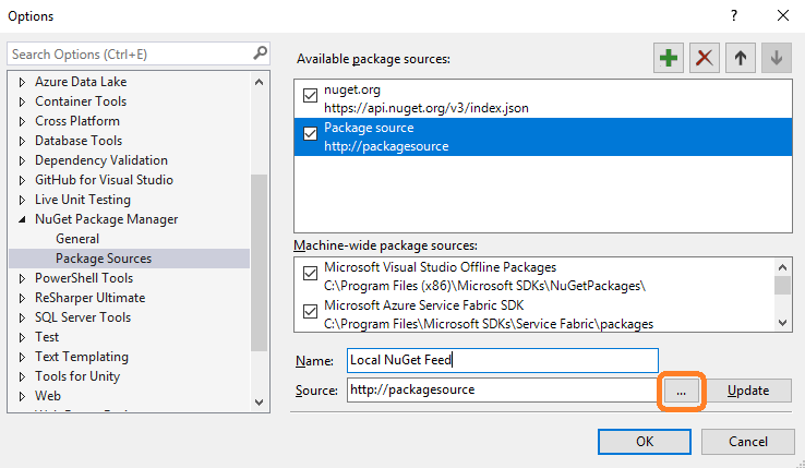 Package Manager - New Source