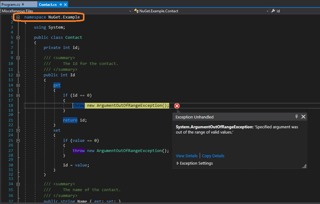 The exception - from the NuGet package