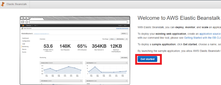 "The AWS Elastic Beanstalk Welcome web page with a ""Get Started"" button highlighted in the middle of the page"