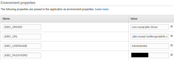 The environment properties section with a number of values filled in and the apply button highlighted