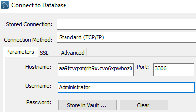 The connect to a database window from MySql Workbench. The database hostname, port and username have been input