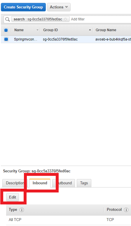 The security groups overview web page with a security group selected, the inbound tab and edit button highlighted.