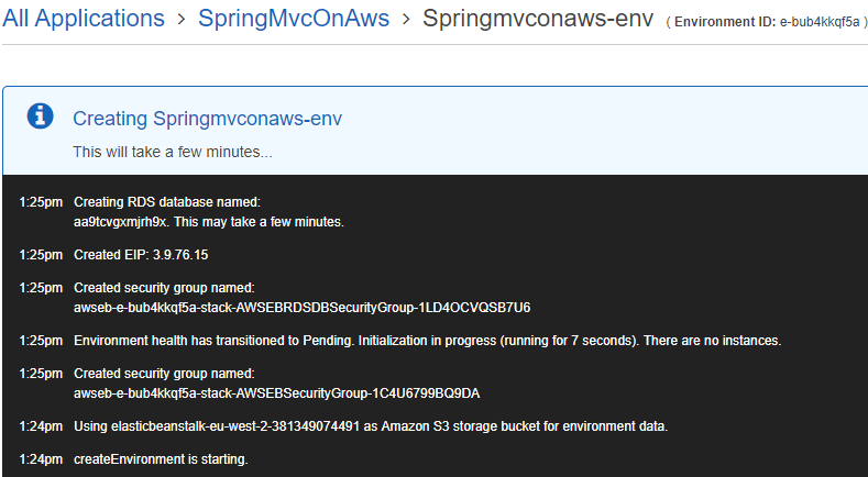 A web page showing a an event window entitled Creating Springmvconaws-env that has events logged in it.
