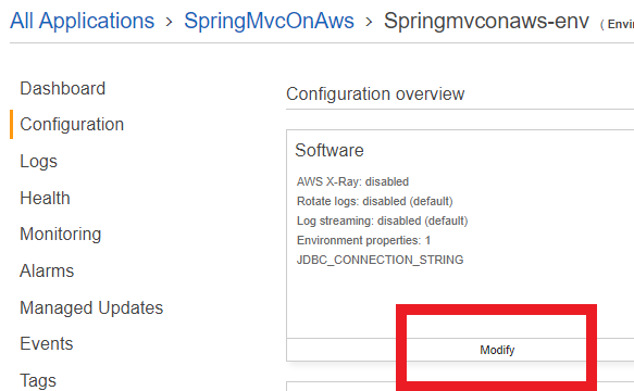 The configuration web page with the modify button highlighted in the software section