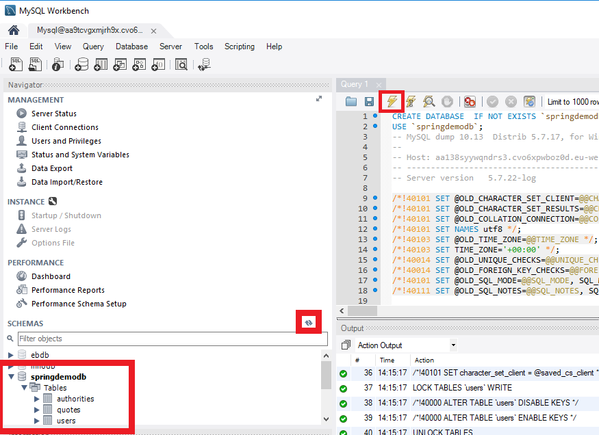 A MySql workbench window with an open sql script that has just been run. The run sql script button, refresh db button and the springdemodb details are all highlighted.