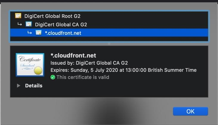 CloudFront default provided SSL Certificate