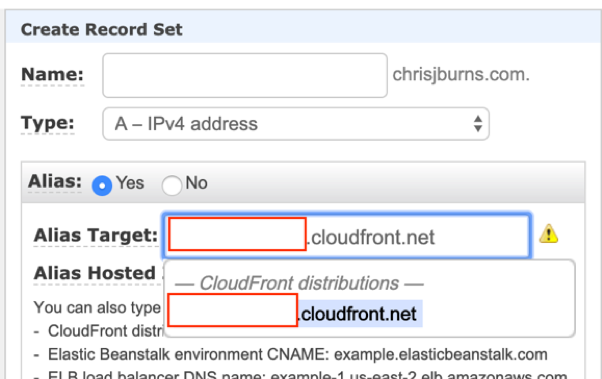 Creating new record set for CloudFront
