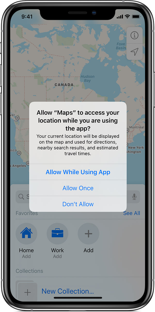 iPhone Maps location access