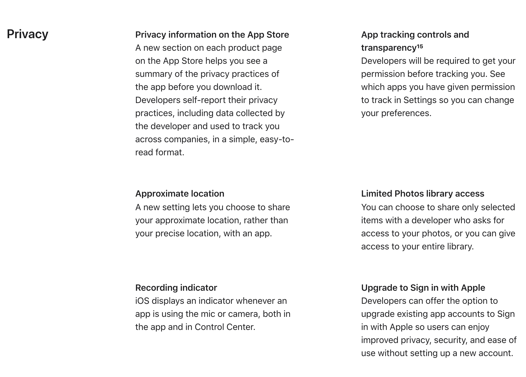 iOS 14 Privacy-related features